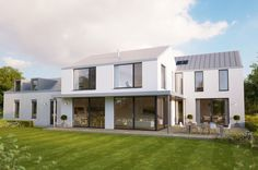 An understated family home with timber clad garage in a rural setting. Two Story House Plans, Country House Plans, 2 Storey House Design, Modern House Design, Farmhouse Architecture, Residential Architecture, House Renovation Ireland, House Designs Ireland, Rural House