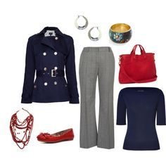 Navy & Red for work, created by lonelyspiral.polyvore.com