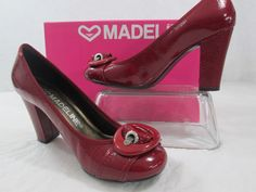 """Madeline Minb Red Cherry Leather 3 1/4 """" Block Heels  Shoes Size 6.5       #Madeline #PumpsClassics #WeartoWork"""