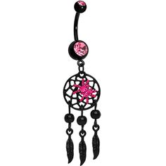 Black Pink Double Gem Spider Dreamcatcher Dangle Belly Ring
