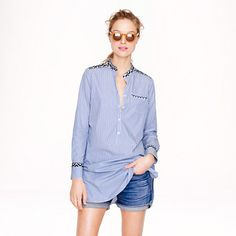 I love my J.Crew embroidered #tunic in a blue stripe.  The embroidery is inspired by #Moroccan #tiles
