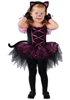 Your child will be cute as a kitty dressed in this Catarina Cat Toddler Halloween Costume. They'll look purr-fectly adorable wearing this black costume with purple accenting that has a tutu dress, tail, kitty-ears, and a pair of matching mitts.