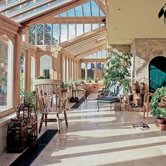 Conservatory Flooring, Conservatory House, Conservatory Design, Solarium Room, Home Greenhouse, French Style Homes, Edwardian House, Mediterranean Homes, House Design