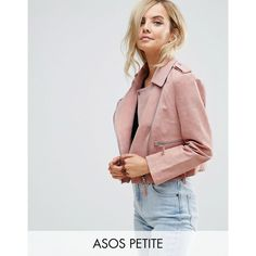 ASOS PETITE Suede Biker Jacket (176 AUD) ❤ liked on Polyvore featuring outerwear, jackets, petite, pink, suede moto jacket, petite jackets, tall jackets, asymmetrical zip jacket and suede jacket