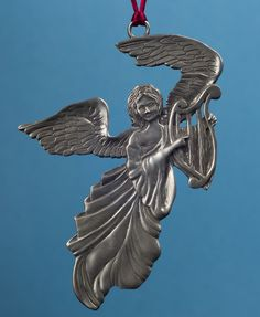 Seagull Pewter Hanging Ornament -- Large Angel with Harp, undated. Hanging Ornaments, Harp, Pewter, Rooster, Angel, Animals, Tin Metal, Animales, Animaux