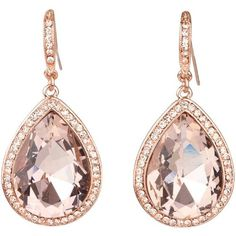 Rose gold, rose gold, rose gold earrings!    Get THEM HERE ==> http://www.ebay.com/itm/Rose-Gold-Crystal-Peach-Rose-Blush-Stone-Teardrop-Pear-CZ-Halo-Dangle-Earrings-/301675776771