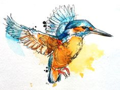 Watercolor Humming Bird Tattoo Design. Although to me, it looks more like a kingfisher which I LOVE.
