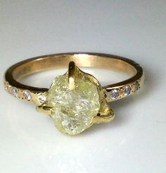 natural clear raw diamond engagement ring by EarthDiamond
