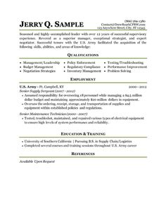 Military To Civilian Resumes Resume Sample For MILITARY