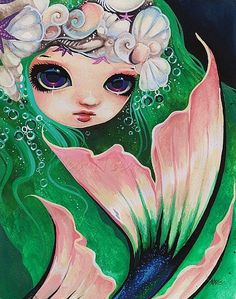 Art: Emerald Mermaid by Artist Nico Niemi I want to have a costume inspired by this piece! Magical Creatures, Fantasy Creatures, Sea Creatures, Fantasy Mermaids, Mermaids And Mermen, Mermaid Cove, Mermaid Art, Mermaid Kisses, Mermaid Drawings