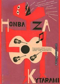 """Honba Za (Pursuit)"" film poster by Czech artist and designer Karel Vaca via Cardboard Cutout Sundown Graphic Design Typography, Graphic Design Illustration, Graphic Art, Illustration Art, Graphic Posters, Saul Bass, Art House Movies, Poster Ads, Movie Posters"