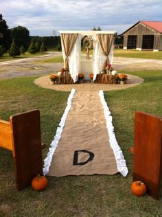 Kayla's wedding isle runner with Gabby's door for the fall time wedding