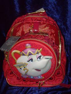 NEW DISNEY Beauty and the Beast glitter Backpack + Lunch Bag Set Belle Mrs Potts #Disney #Backpack