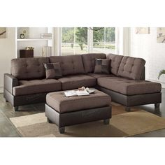 3 pc martinique ii two tone chocolate fabric and faux leather sectional sofa couch with reversible chaise and ottoman Sectional Sofa With Chaise, Ottoman Sofa, Fabric Sectional, Leather Sectional Sofas, Sleeper Sofas, Leather Sofa, Black Leather, Corner Couch, Couch Set