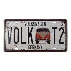 Placa Volkswagen Kombi Vermelha