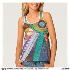 Gypsy Bohemian Sun ray T-Back Tanktop Tank Top