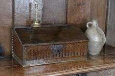 17th century oak carved desk box, Marhamchurch antiques