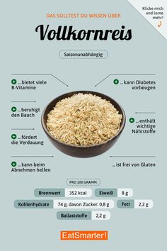 Das solltest du über Vollkornreis wissen | eatsmarter.de #vollkorn #reis #ernährung #infografik