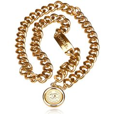 Vintage Chanel Medallion chain gold-tone belt ❤ liked on Polyvore featuring accessories, belts, chanel, chanel belt and chain belt