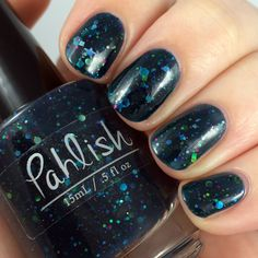 Pahlish - Bespoke Batch - Deep Lovely Dark. A rich teal jelly packed with circles, stars, squares and hexes