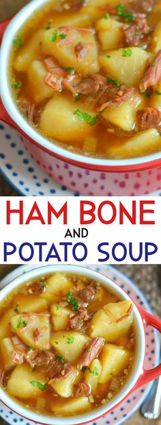 The BEST Homemade Slow Cooker or Stovetop Ham Bone and Potato Soup - This old school soup is just like Grandma used to make! The broth is rich and delicious from the ham - Ham Bone Potato Soup, Ham Soup, Crock Pot Soup, Slow Cooker Soup, Soup With Ham Bone, Ham Bone Recipes, Pork Recipes, Cooking Recipes, Recipe For Ham Bone