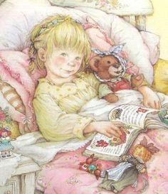 Illustrationn de Lisi Martin. Le bonheur : un bon livre et des oreillers  pour être plus confortable...et pouvoir lire des heures.