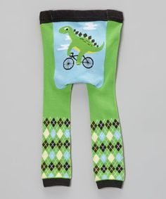Take a look at this Green & Blue Bicycle Dinosaur Leggings - Infant on zulily today!