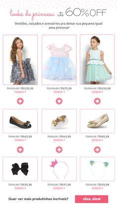 E-mail extra para temática de princesas Shopping, Vestidos, Princesses
