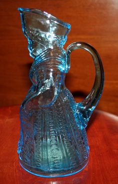 Blue Glass Aunt Jemima Syrup Pitcher Vintage