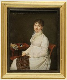 Portrait of a Woman with Tapestry Work  Style of Jean Baptiste Jacques Augustin (about 1800–1810)   Medium: Ivory extended by card