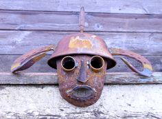 Metal Art Mask created by J. Made out recycled scrap metal. Junk Metal Art, Recycled Metal Art, Metal Yard Art, Scrap Metal Art, Junk Art, Welding Art Projects, Metal Art Projects, Metal Crafts, Garden Projects