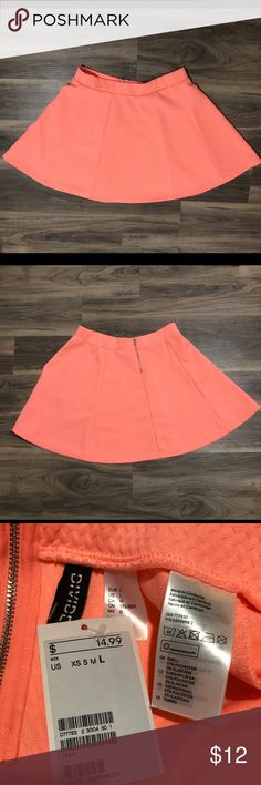 eace22cbbd8 Divided neon orange skirt Brand new never worn zippered back Divided Skirts  Mini