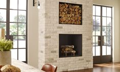Fireplace Surround to match kitchen backsplash Eldorado Stone - TundraBrick® in Chalk Dust Thin Brick Veneer, Stone Veneer, Home Fireplace, Fireplace Surrounds, Wood Burning Stove Insert, Eldorado Stone, Brick Face, Stone Kitchen, Exposed Brick