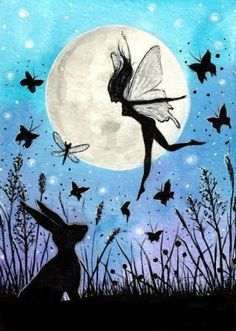 "Moon and hare , Hand enhanced Print 5 x 7"" Magical Fantasy art painting - ""Magical Faery & the Hare Silhouette"""