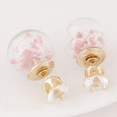 Double Faced Stud Earring, Zinc Alloy, with Glass, Round, gold color plated, faceted & with rhinestone, pink, lead & cadmium free, 15x8mm,china wholesale jewelry beads
