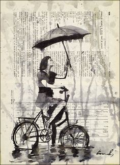 Print Art canvas Ink Drawing sketch Illustration Painting Bike Gift present Girl with Umbrella Autographed by artist Emanuel M. Ologeanu