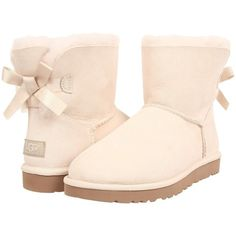 UGG Mini Bailey Bow Women's Boots ($120) ❤ liked on Polyvore featuring shoes, boots, uggs, ankle boots, white, white lace up boots, bootie boots, short heel boots, ugg australia boots and bow boots