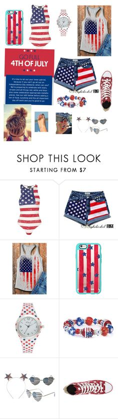 """""""Happy 4th of July!!🎉"""" by danceprincess15 ❤ liked on Polyvore featuring Topshop, Casetify, Kim Rogers and Converse"""