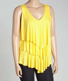Another great find on #zulily! Yellow Tiered V-Neck Tank - Plus #zulilyfinds