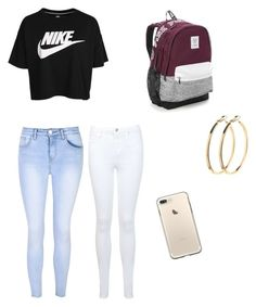 """""""School"""" by gabrielabaylon on Polyvore featuring Miss Selfridge, Victoria's Secret, NIKE, Glamorous and Pieces"""