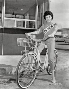 """March 20, 1959. """"Sixteen-year-old actress Annette Funicello, Bicycle Queen of 1959."""" New York World-Telegram and Sun Photo Collection. #celebrity #bike #1950s"""