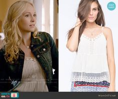 Caroline's white lace trim top on The Vampire Diaries.  Outfit Details: https://wornontv.net/53921/ #TheVampireDiaries