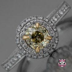 Art Deco Engagement Ring - GIA Fancy Yellow Diamond