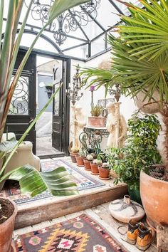 Love this Southwestern enclosed patio.
