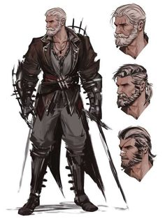 male character with alternative faces / hairstyles male fighter with dual swords. - male character with alternative faces / hairstyles male fighter with dual swords ideas for miniatur - Character Design Animation, Fantasy Character Design, Character Design References, Character Creation, Character Art, Character Sketches, Dungeons And Dragons Characters, Dnd Characters, Fantasy Characters