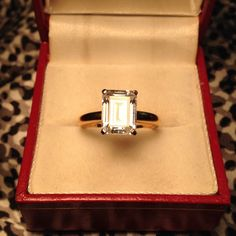 Emerald cut CZ on 925 silver band in yellow gold Sterling silver dipped in yellow gold, CZ solitaire -size 6 -I DO NOT TRADE Jewelry Rings