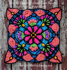 Ravelry: Dragon Flower Stained Glass Square pattern by Shawn Torres Crochet Mandala Pattern, Crochet Circles, Granny Square Crochet Pattern, Crochet Blocks, Crochet Squares, Crochet Doilies, Double Crochet, Crochet Home, Cute Crochet