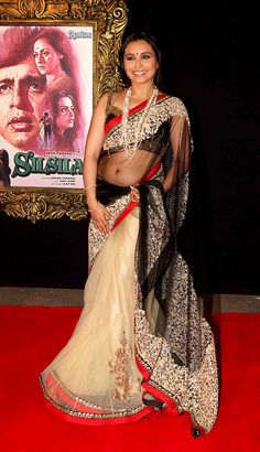 This off white and black designer collection Bollywood saree appears outstanding on wedding or mahendi with its rich embroidery,jari and nice jardoshi work. Bollywood Stars, Indian Bollywood, Bollywood Fashion, Beautiful Bollywood Actress, Beautiful Indian Actress, Net Saree, Lehenga Choli, Sabyasachi Sarees, Indian Beauty Saree