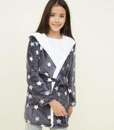 6dd3bf55a8 Girls Dark Grey Star Print Hooded Robe