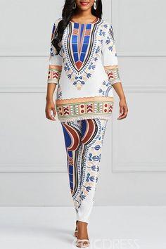 Ericdress Dashiki Print T-Shirt and Pants Women's Two Piece Set, Dashiki Shirt, Dashiki Dress, Clothes For Sale, Clothes For Women, Traditional Fashion, Ankara Styles, Fashion Outfits, Womens Fashion, Fashion Trends